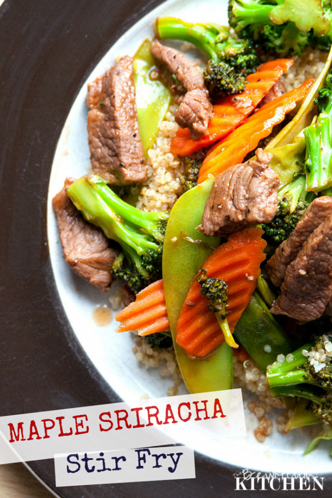 Maple Sriracha Beef Stir Fry - A delicious and healthy stir fry using sriracha sauce. Find more clean eating and gluten free recipes at TheBewitchinKitchen.com