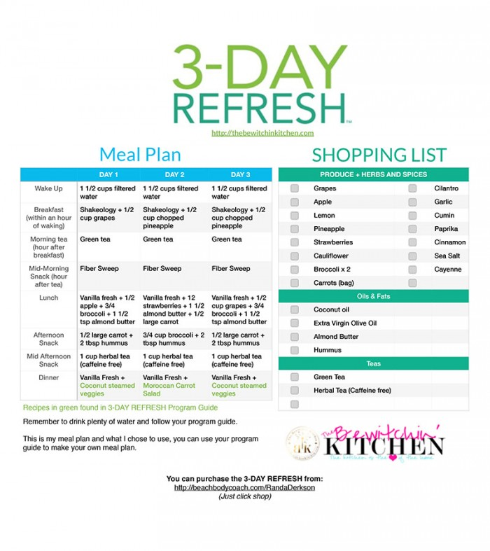 3 Day Refresh Meal Plan and Shopping List FREE download from The Bewitchin' Kitchen