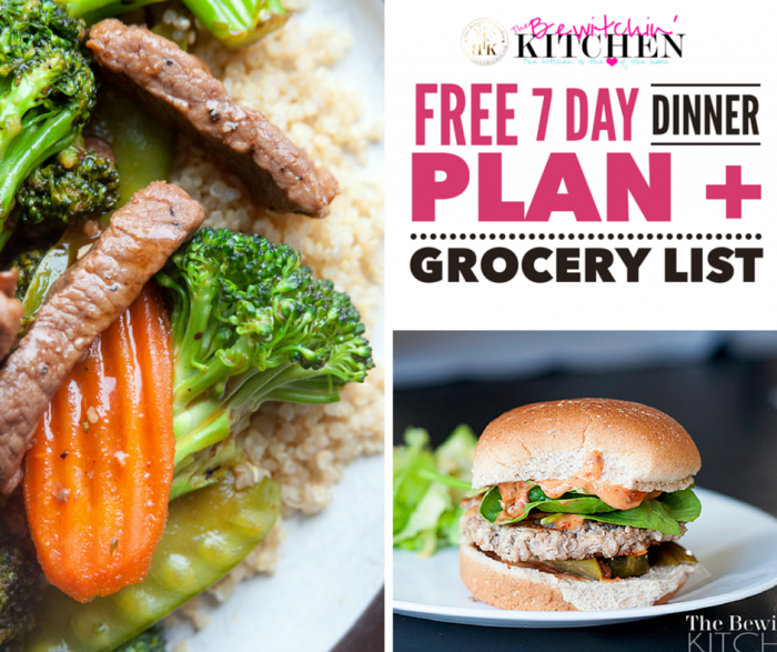 7 day dinner plan free download