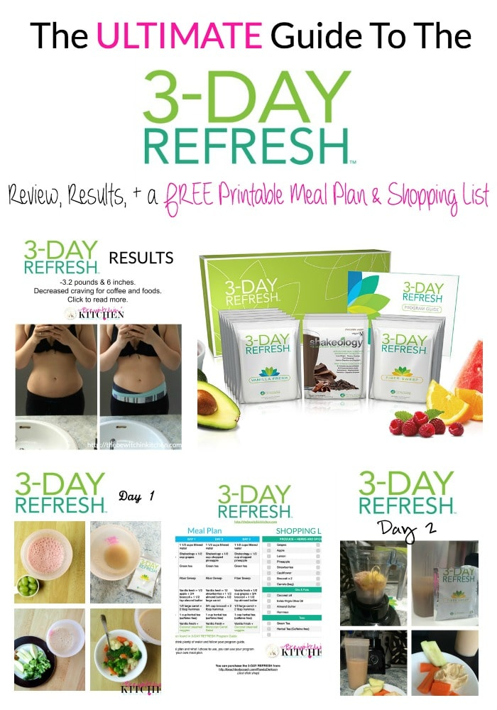 The ultimate guide to success on the 3 Day Refresh. Full review, results plus a free meal plan and shopping list. | thebewitchinkitchen.com