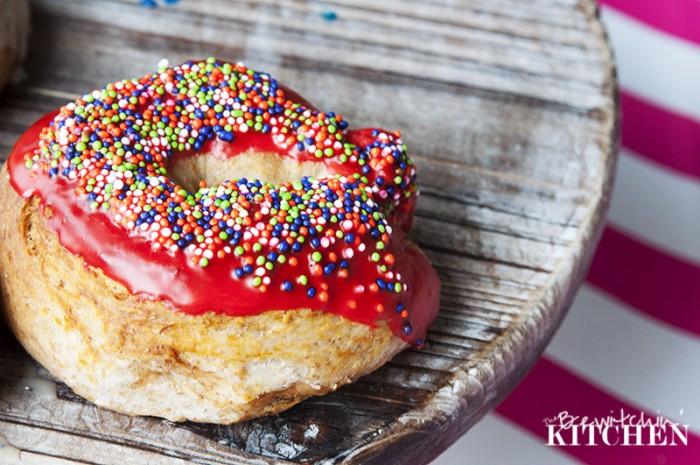 Baked Donuts with a maple glaze from TheBewitchinKitchen.com. What a fun dessert recipe to make with the kids!