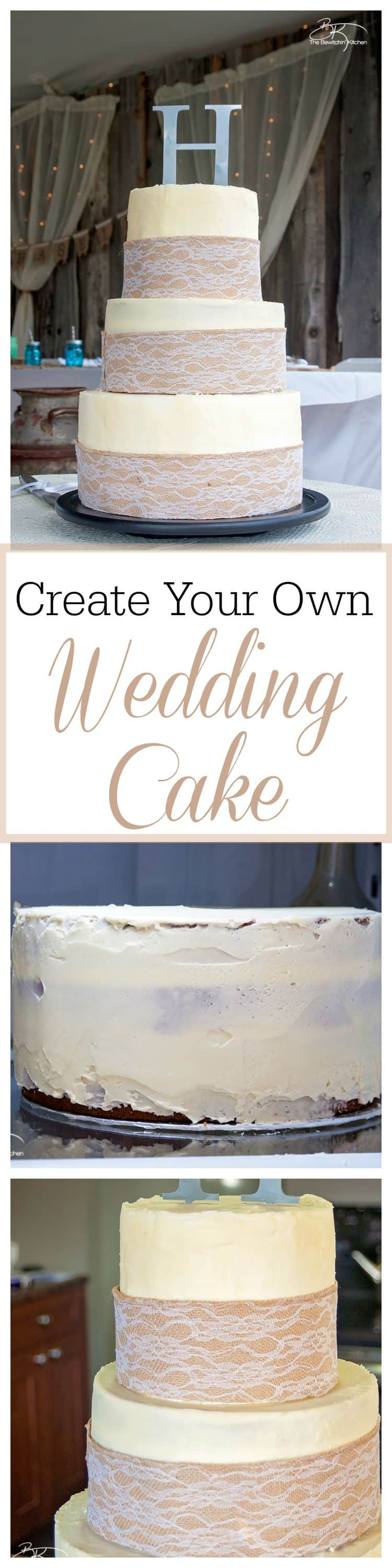 DIY wedding cakes. This three tiered diy wedding cake is fake on the bottom and top, with two vanilla lemon cakes in the middle. Wrapped with a burlap and lace trim for a rustic wedding feel. Here's how I did it.