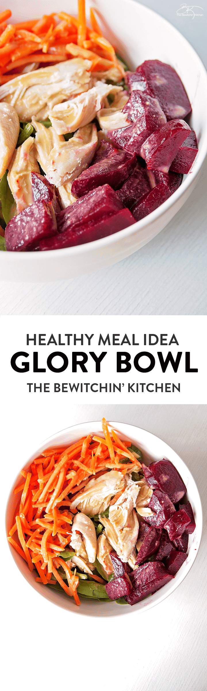 This Glory Bowl recipe is delicious and healthy with the beets, carrots, glory bowl dressing, quinoa, and chicken. Perfect for a clean eating lunch or dinner.