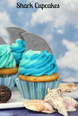 Shark Cupcakes featured on the Monday Funday Linky Party