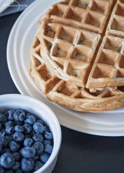 Cinnamon whole wheat waffles recipe. This is the perfect weekend breakfast recipe, and it's low in sugar.