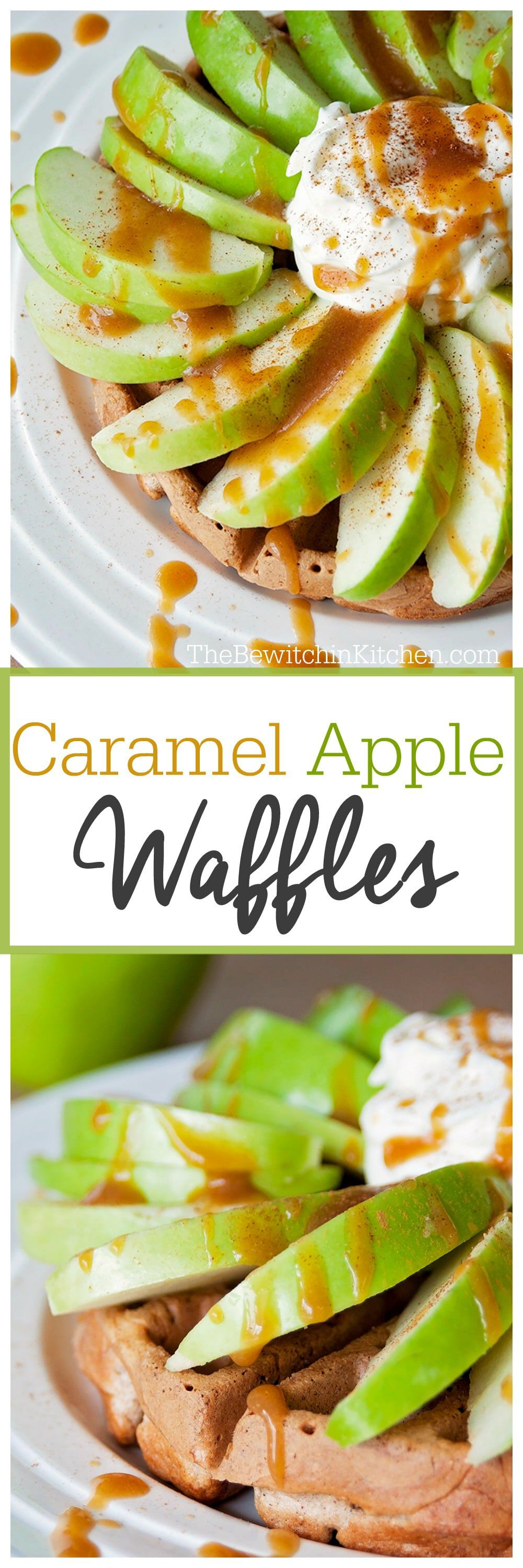 Caramel Apple Waffles - This low sugar, eggless waffle recipe is a delicious way to conquer your sweet tooth at breakfast, brunch, or as a snack. Make ahead and freeze to make school mornings a breeze. #thebewitchinkitchen #egglessrecipes #egglesswaffles #wafflerecipes #caramelappleapples #applewaffles
