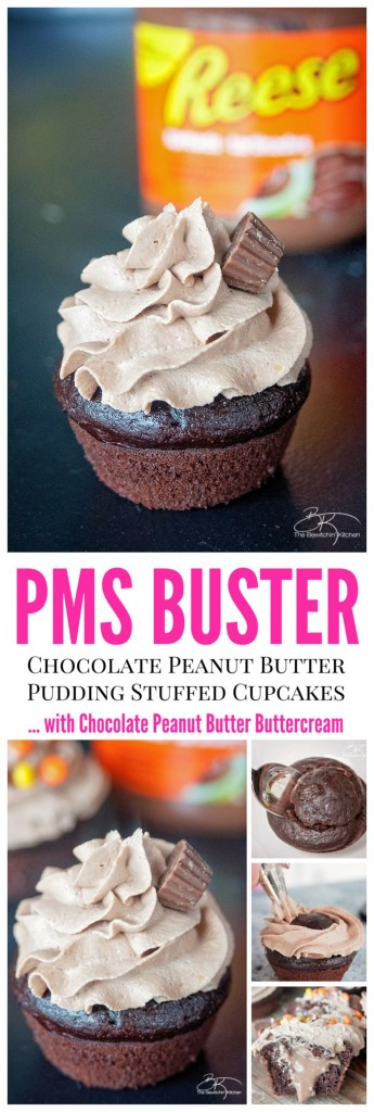 The PMS Buster - Chocolate Peanut Butter Filled Cupcakes with the world's best buttercream recipe: Chocolate Peanut Butter Frosting. These Chocolate Peanut Butter Cupcakes are a must try dessert recipe!