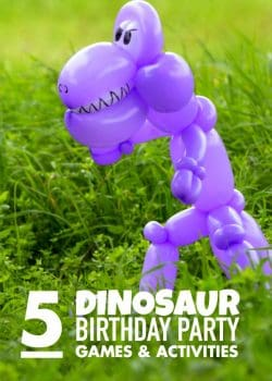 5 dinosaur party games and dinosaur birthday party ideas that guests will dig. #4 sounds like a lot of fun!