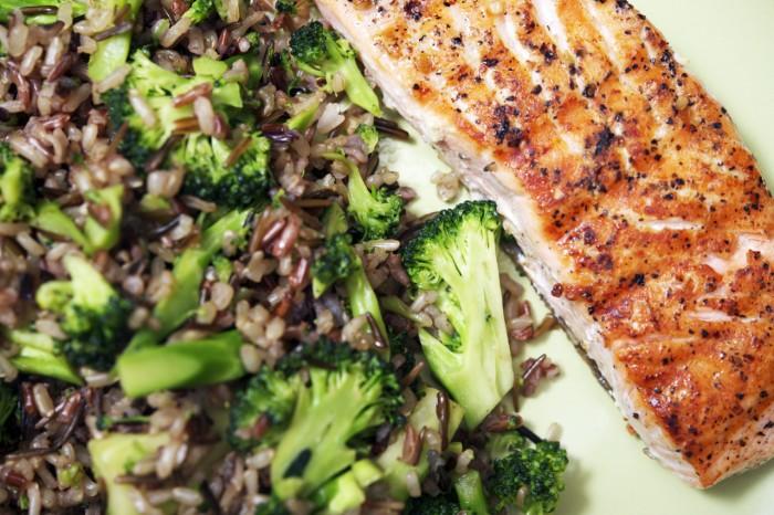 Alaskan Salmon Dinner. Wild Salmon, Rice and Broccoli.