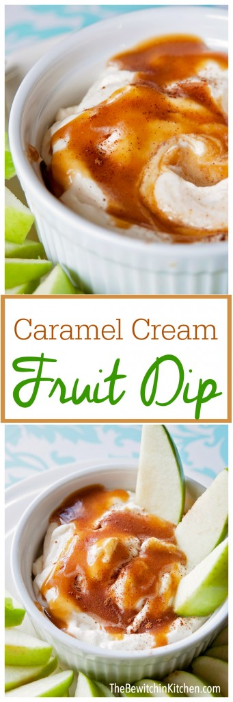 Caramel Cream Dip - an easy 30 second dessert dip recipe.