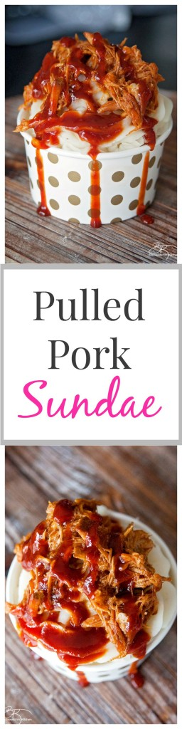 Well this is a fun play on food: Pulled Pork Sundae recipe. Whipped garlic potatoes, slow cooked pulled pork and tangy BBQ sauce. | The Bewitchin' Kitchen