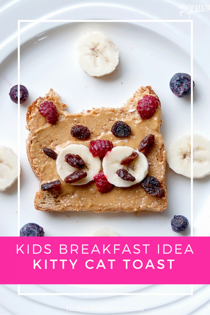 Healthy breakfast ideas for kids, I have a picky toddler who turns down everything but he loves this kitty cat toast! Pin this to your Healthy Kids Breakfast Ideas board.