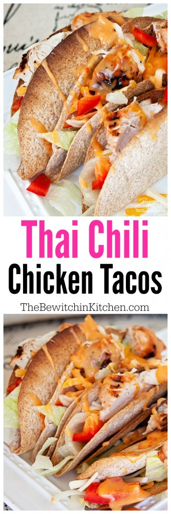 Thai Chili Chicken Tacos recipe. This twist on the chicken tacos recipe was inspired by an entree at Boston Pizza but turned into a healthier version | The Bewitchin Kitchen