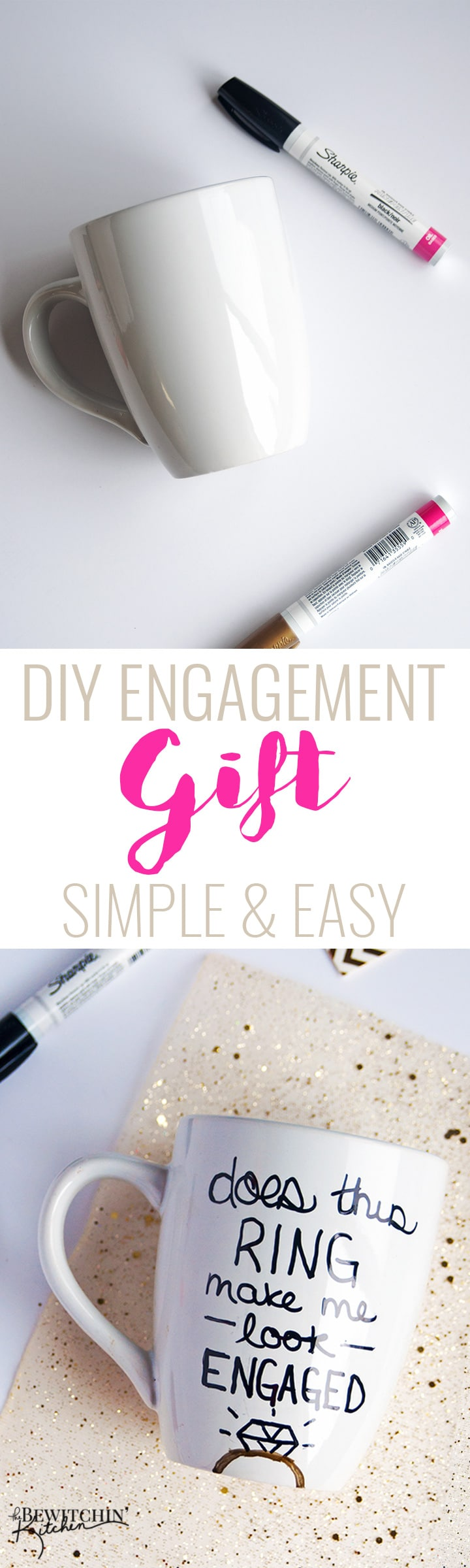 A simple and frugal DIY Engagement Gift idea! I love how easy this sharpie mug is plus the homemade gift comes from the heart. | thebewitchinkitchen.com