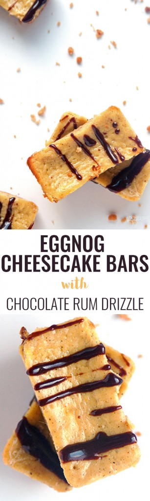 Eggnog Cheesecake Bars with a Chocolate Rum Drizzle - Oh my gosh! A simple and easy recipe that's perfect for holiday baking and a hit treat at Christmas parties. | thebewitchinkitchen.com