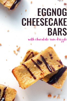 Eggnog Cheesecake Bars with a Chocolate Rum Drizzle - Oh my gosh! This recipe is simple and easy to make and is an Epicure favorite of mine. Perfect for Christmas parties| thebewitchinkitchen.com
