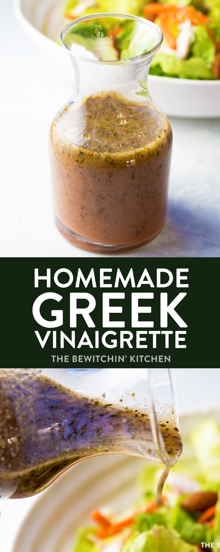 Homemade Greek Vinaigrette. This homemade salad dressing is delicious over salads or as a marinade for chicken or steak! This healthy recipe packs a clean eating punch which is approved for 21 Day Fix, 80 Day Obsession, and other Beachbody programs! Weight loss recipes made tasty! #greekvinaigrette #greekdressing #homemadesaladdressing #21dayfixrecipes #80dayobsessionrecipes