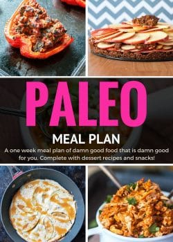 Paleo Meal Plan - If you're looking for paleo recipes THIS is a must pin! Paleo breakfasts, paleo lunch and paleo dinner recipes are planned for you for a week. Plus there are paleo desserts and paleo snacks too!