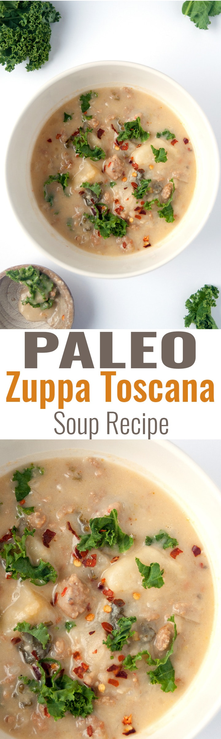 Paleo Zuppa Toscana Soup - an easy and simple paleo twist on a classic soup recipe. It's so creamy and delicious! Perfect for chilly winter nights. | thebewitchinkitchen.com