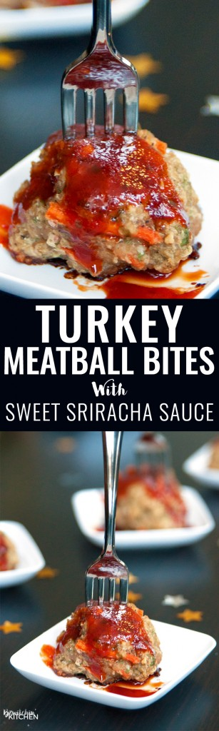 Turkey Meatball Bites. This appetizer is a great healthy party recipe or a delicious healthy dinner main dish. Ground turkey, hidden vegetables and a sweet sriracha sauce that has 75% LESS sugar. | thebewitchinkitchen.com