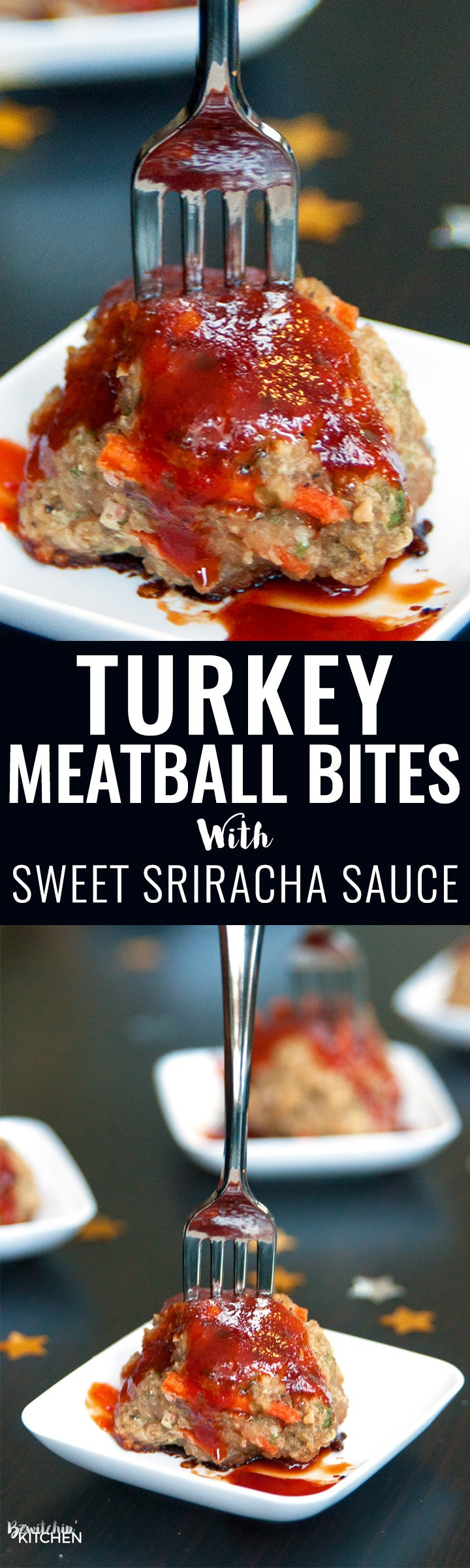Turkey Meatball Bites. This appetizer is a great healthy party recipe or makes a delicious healthy dinner main dish. Ground turkey, hidden vegetables and a sweet sriracha sauce that has 75% LESS sugar. | thebewitchinkitchen.com