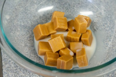 Easy homemade caramels, just pop them in the microwave with some milk and go.
