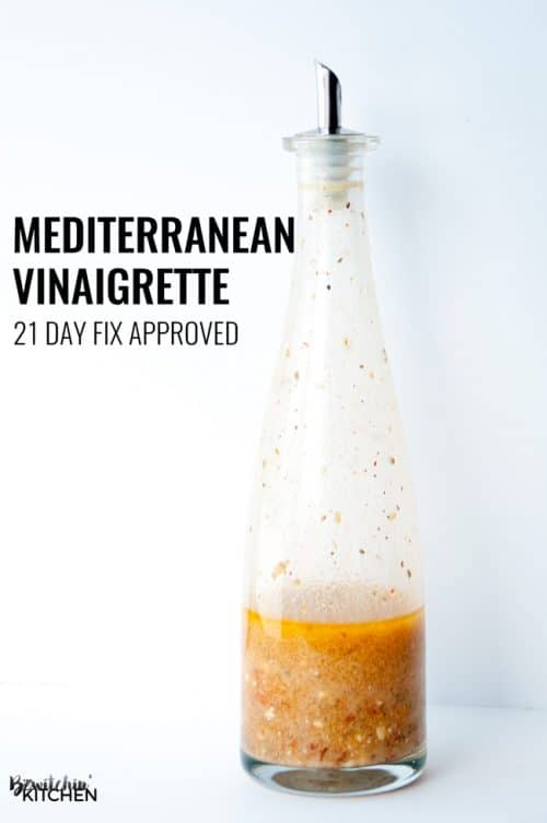 Mediterranean Vinaigrette - healthy vinaigrette recipe to spice up your salads from the Hammer and Chisel cookbook. This is also 21 day fix approved and can be used as a 21 day fix recipe. LOVE that it has feta and sundried tomato in it | thebewitchinkitchen.com