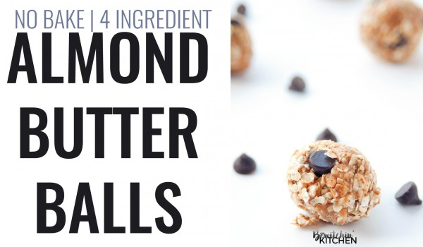 Almond Butter Balls recipe - this no bake dessert makes a healthy snack for kids of all ages. 4 ingredients: quick oats, dark chocolate chips, brown rice syrup and almond butter. | thebewitchinkitchen.com