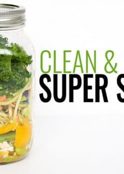 Super Salad - a great recipe for people who don't love salads. This clean eating mason jar salad is easy easy to prepare and is super yummy with the tangy vinaigrette. | thebewitchinkitchen.com