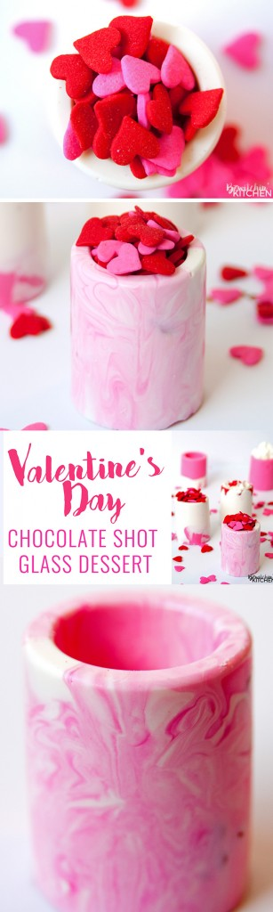 Easy Valentine's Day dessert idea: vanilla chocolate shot glasses. This no bake dessert uses Candy Melts and a shot glass mold. Perfect for kid's Valentine's parties. |thebewitchinkitchen.com