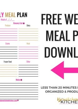 Meal Planning Worksheet Download! Make your weekly meal plan easy with this menu plan printable! This makes eating healthy easy! Fail to plan, plan to fail! |thebewitchinkitchen.com