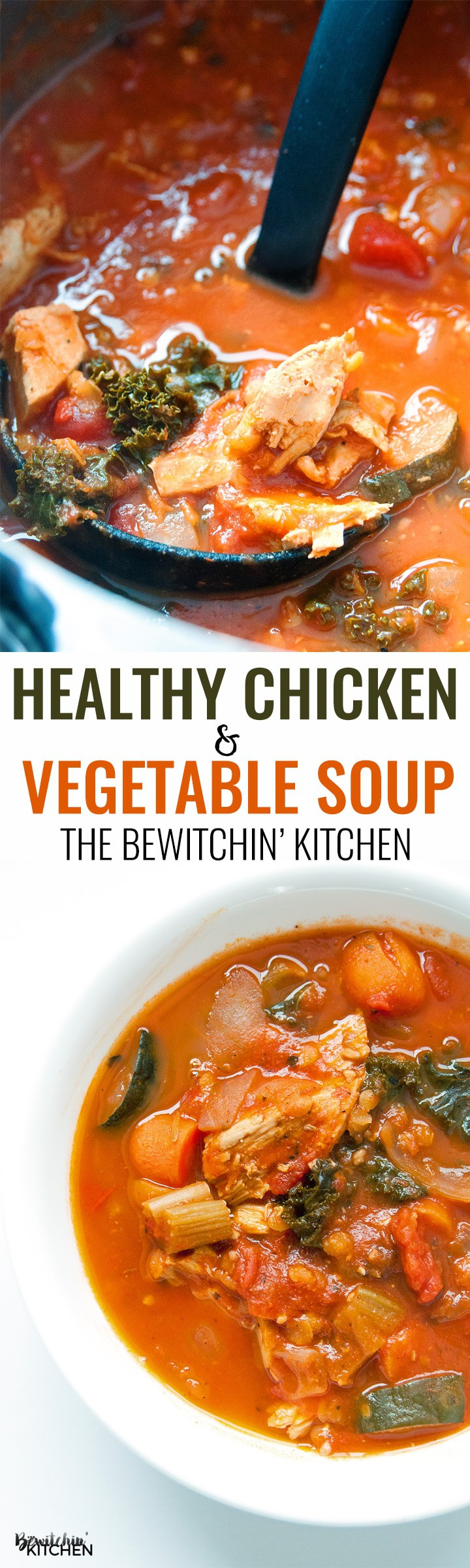 Healthy Chicken Vegetable Soup. Talk about healthy recipes made easy! Plus a secret ingredient that transforms all soups to