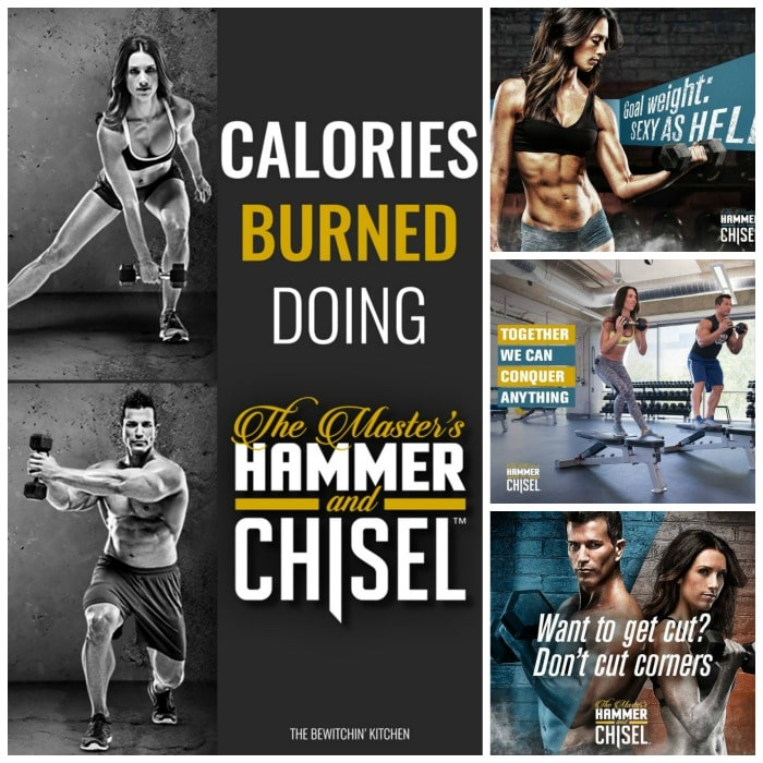 This blog tells you calories burned doing hammer and chisel. She uses a heart rate monitor to calculate it. Hammer is Chisel is a Beachbody program from the trainers Sagi Kalev (Body Beast) and Autumn Calabrese (21 Day Fix and 21 Day Fix Extreme).