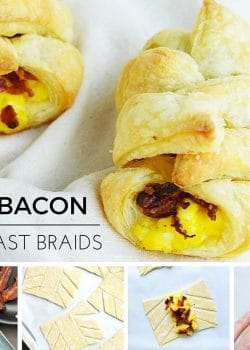 Mini Bacon Breakfast Braids - this egg and bacon recipe is a brunch hit. Using puff pastry, bacon and eggs plus any fill ins you want. This also makes a great baby shower recipe or can be used as a bridal shower recipe.   thebewitchinkitchen.com