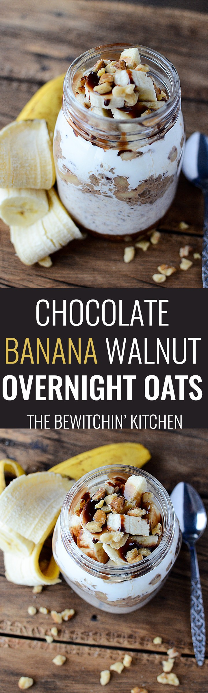 Chocolate Banana Walnut Overnight Oats - This healthy overnight oats recipe has yogurt, chia, bananas, walnuts and chocolate. It's a healthy breakfast with a bit of decadence. An easy meal prep morning treat. | thebewitchinkitchen.com