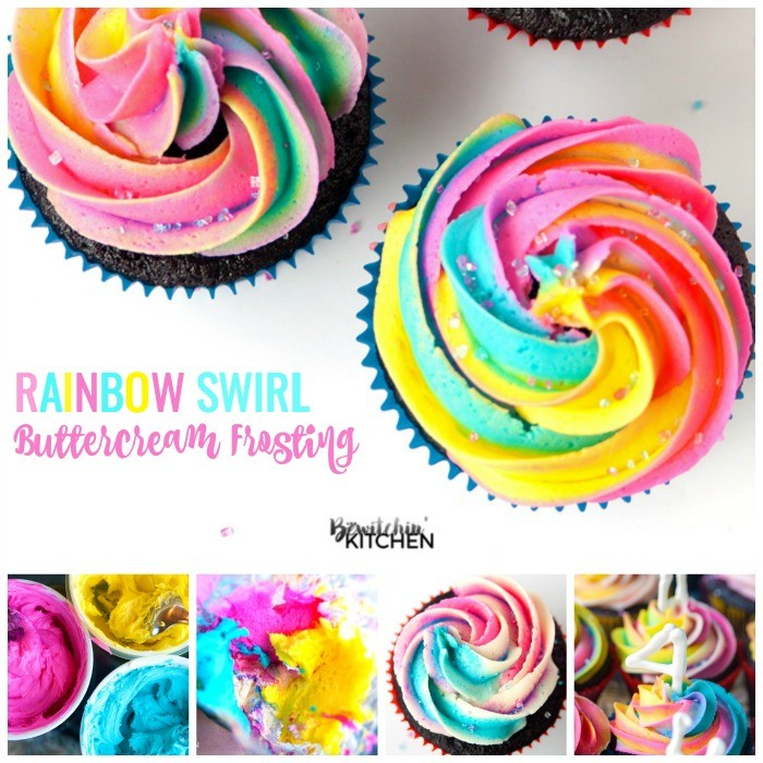 Rainbow Swirl Buttercream Frosting on birthday cupcake ideas