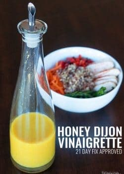 Honey Mustard Vinaigrette - this homemade salad dressing is perfect for summer. It's 21 Day Fix approved (along with all Beachbody containers) and is a clean eating treat. Goes great over salad, a spring chicken bowl or use it as a chicken marinade.