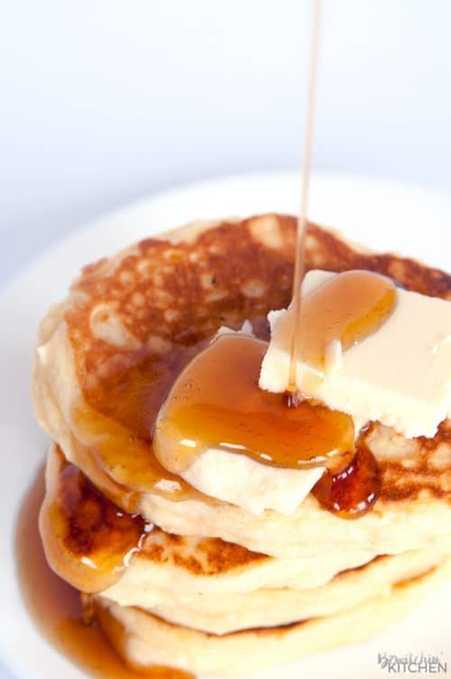Gluten Free Buttermilk Pancakes. You will not believe that these fluffy buttermilk pancakes are gluten free. This classic breakfast recipe leaves your tummy's full and your home smelling amazing. | thebewitchinkitchen.com