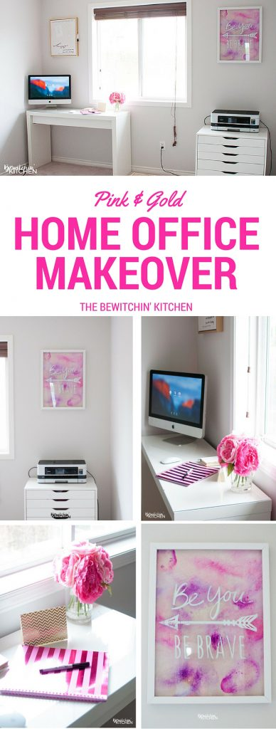 Pink and gold home office makeover reveal. Paint color used is CIL Barley Beige, it's a beautiful greige color. It's so bright and clean!