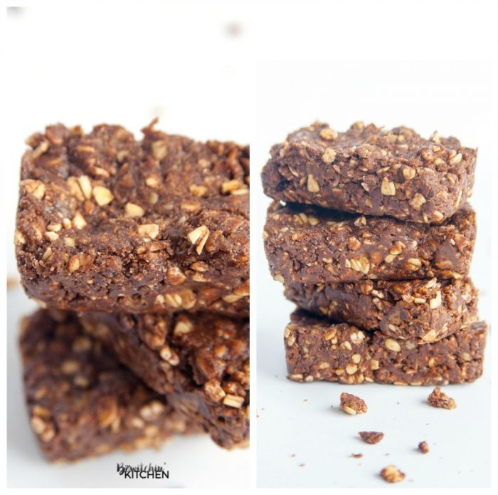 No bake chocolate Shakeology bars. A no bake dessert that makes for a healthy snack with steel cut oats, brown rice syrup, nut butter and fudgy superfoods! Plus they're totally 21 Day Fix approved (and all beachbody container system approved).