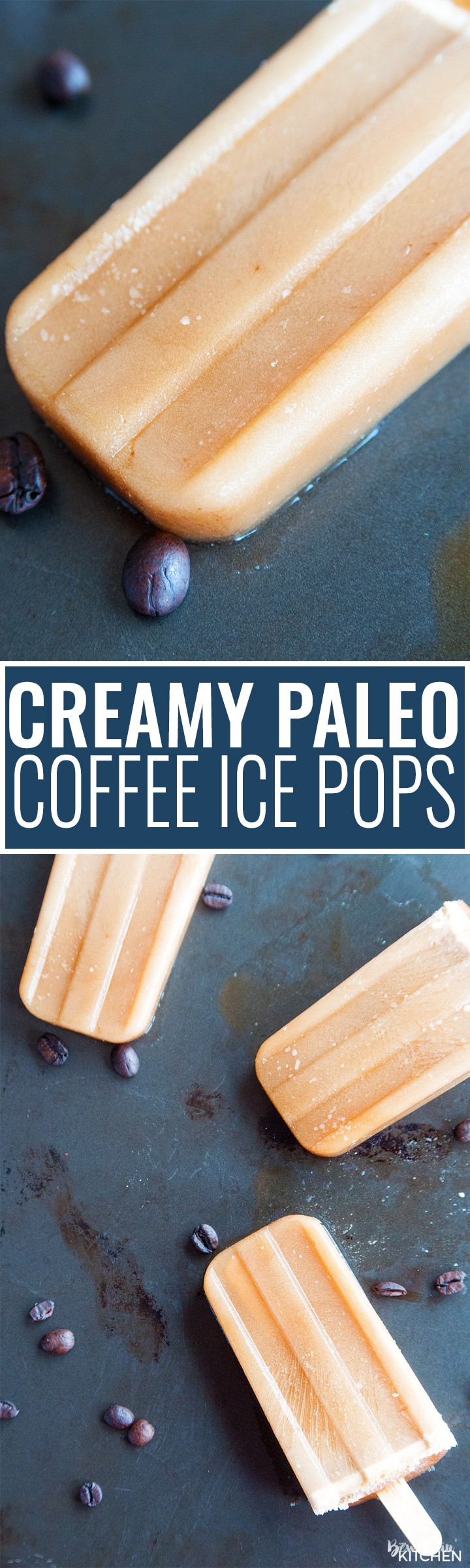 Creamy paleo coffee ice pops. These homemade healthy popsicles are made with two ingredients: coffee and coconut oil. Paleo, 21 day fix, keto diet, and whole30 friendly!