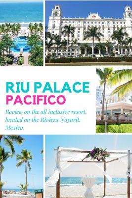 The Riu Palace Pacifico is a stunning place to vacation in the Riviera Nayarit, on the west coast of Mexico, just north of Puerto Vallarta. The beach in Nuevo Vallarta is beautiful. Add it to your travel bucket list. Also great for destination weddings!