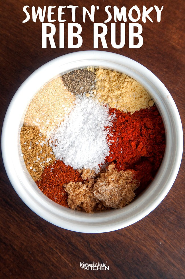 This sweet and smoky rib rub is perfect for summer bbq's. Not only is this great on ribs but it's super yummy on grilled chicken too. Try it the next time you barbecue! | thebewitchinkitchen.com