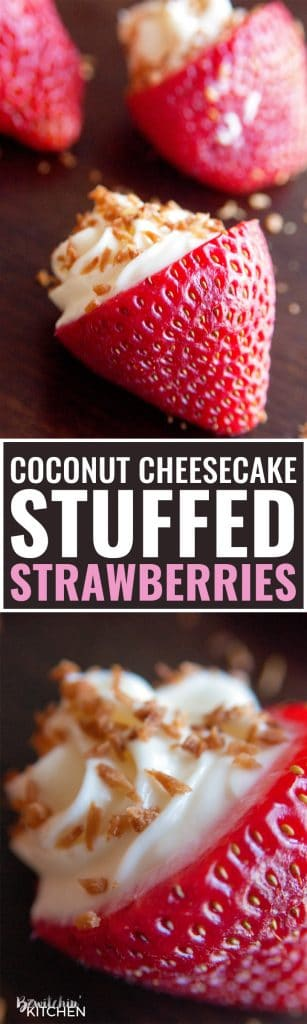 OMG Coconut Cheesecake Stuffed Strawberries! This dessert recipe is amazing! It's fast, easy and I love the crunch to the toasted coconut. Must make these for upcoming bridal showers and baby showers. Delicious party dessert idea!