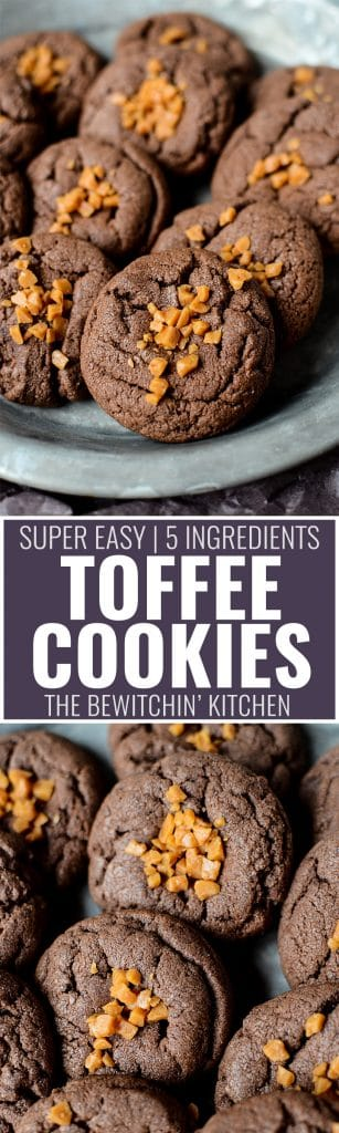 Toffee Cookies - this easy cookie recipe uses chocolate cake mix and a total of 5 ingredients. A fast dessert that the will sell out bake sales in no time!