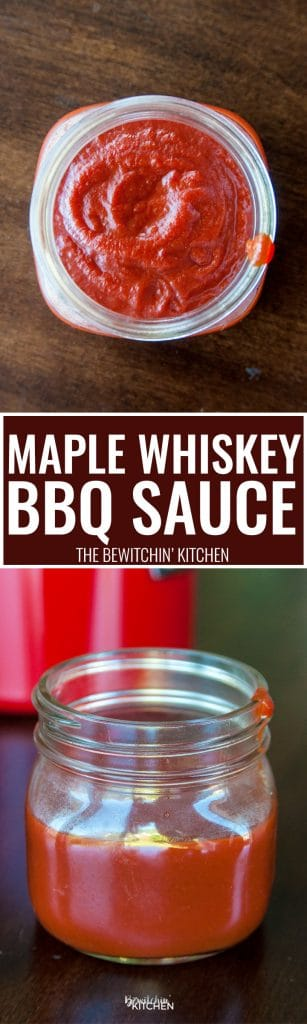 Maple Whiskey BBQ Sauce. This easy homemade barbecue sauce recipe goes great on grilled chicken and ribs. The sweet taste of maple with the bite of whiskey, all whisked together with a tangy tomato base.