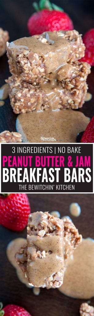 No Bake Peanut Butter Jam Bars - these 3 ingredient PB&J breakfast bars are a great way to start the morning or a yummy snack idea for school. It's a fun twist on peanut butter and jelly with the addition of high fiber oats.