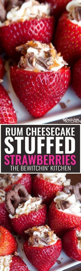 Rum Cheesecake Stuffed Strawberries. This easy, no bake dessert recipe is a party favorite. Cream cheese, sugar and rum extract, topped with crunchy milk chocolate covered pretzels makes this bite sized treat sweet, salty and crunchy. Add this to your popular desserts board.