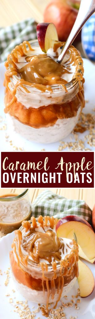 Caramel Apple Overnight Oats - this easy breakfast recipe brings my favorite flavor of apple pie to the no bake + no effort easy of overnight oats. Fall dessert recipes are a favorite of mine, especially when I can have it all day long.