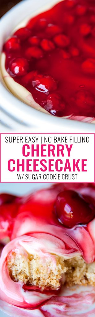 This easy cherry cheesecake recipe is the perfect summer dessert. Using a sugar cookie crust, a no bake cheesecake recipe and cherry pie filling it's a delicious dessert for summer bbqs without the work! | thebewitchinkitchen.com